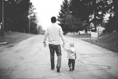Dad walking son