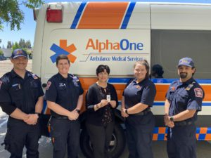 dot boyd of electronic caregiver and staff from alphaone ambulance service