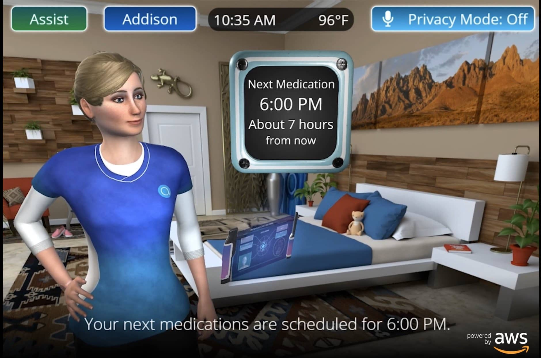 Addison with Intel RealSense Camera and med reminders